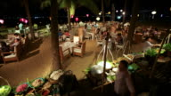 MS T/L Shot of People being serving dinner at buffet at Ana Mandara Resort  / Nha Trang, Khanh Hoa, Vietnam