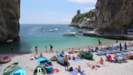 MS Shot of people enjoying at beach on famous coast / Amalfi, Campania, Italy