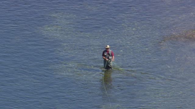 MS AERIAL ZO Shot of people enjoying Drift Fishing / Montana, United States