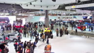 MS PAN T/L Shot of people roaming at seoul motor show exhibition / Seoul, South Korea