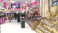 MS Shot of People shopping Chocolate at department store for Valentines Day / Seoul, Seoul, South Korea
