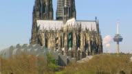 MS Shot of Philharmonie Koln and Dom (Cathedral) / Cologne, North Rhine Westphalia, Germany
