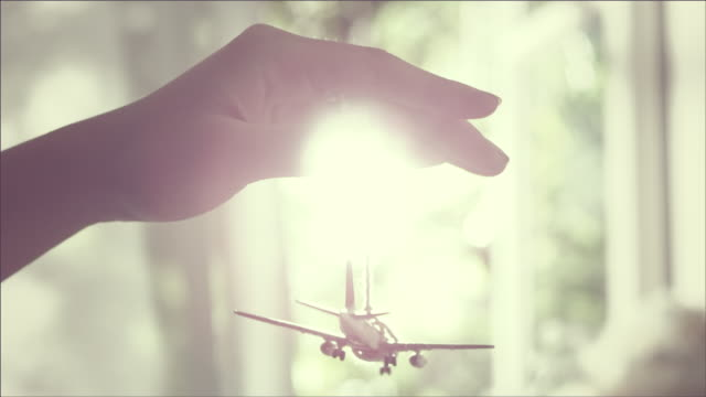 Shot of playing Airplane Figurine with sunshine