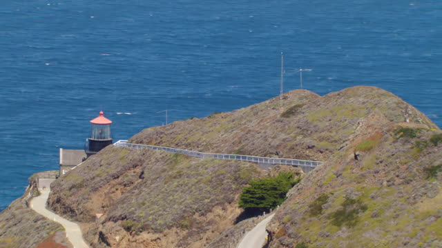 MS ZO AERIAL Shot of Point Sur Lighthouse and revealing coastline / California, United States