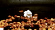 ECU SLO MO Shot of Popcorn popping in oil, exploding against black background / Calvados, Normandy, France