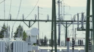 MS PAN shot of power station with electrical grid, transformers and more / Beaverton, Oregon, United States
