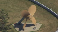 MS AERIAL TS Shot of propeller of USS South Dakota / Sioux Falls, South Dakota, United States
