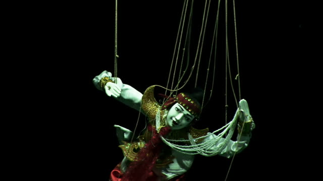 MS Shot of puppet on strings / Mandalay, Mandalay Division, Myanmar