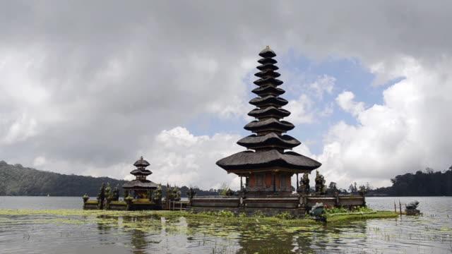 MS Shot of Pura Ulun Danu temple at Lake Bratan / Bedugul, Bali, Indonesia