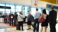 MS TD T/L Shot of Qantas plane entrance / Sydney, Pyrmont New South Wales, Australia