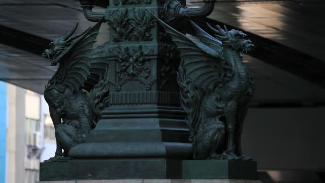 CU Shot of qilin bronze sculpture / Nihonbashi, Tokyo, Japan