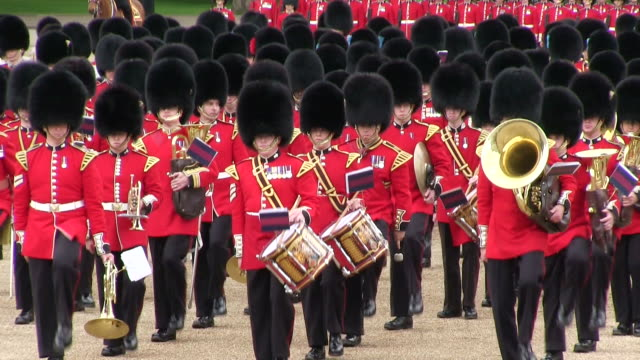 MS Shot of Queen's Birthday Parade in Trooping Colour at Whitelhall AUDIO / London, United Kingdom