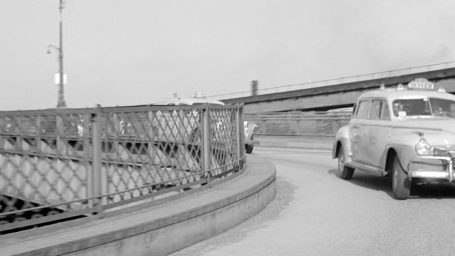 WS POV Shot of Queensboro bridge with City buildings in background
