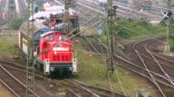 MS Shot of railroad yard Maschen near Hamburg / Maschen, Lower Saxony, Germany