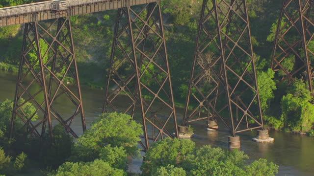 CU AERIAL TS Shot of Railway bridge scaffolding to bridge over Niobrara River / Nebraska, United States