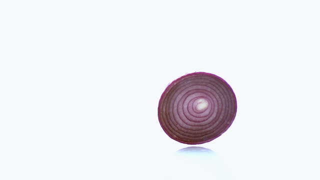 CU SLO MO Shot of Red Onion, allium cepa, Slice Roling against White Background / Calvados, Normandy, France
