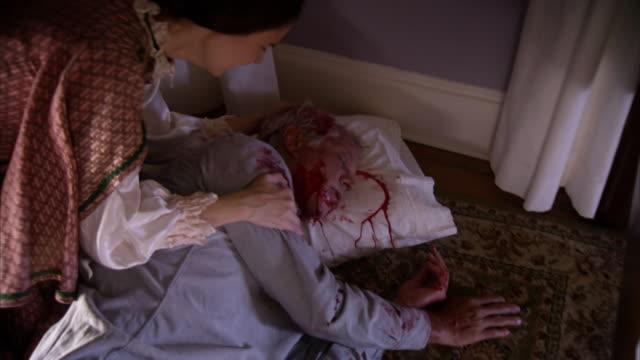 MS PAN Shot of REENACTMENT Frances Adeline Seward rolls over dead Secretary of State William H Seward / United States