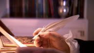 MS PAN Shot of Reenactment President James Madison writing a letter using quill / Baltimore, Maryland, United States