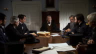 MS ZI Shot of REENACTMENT Vice President Andrew Johnson meeting with cabinet members / United States