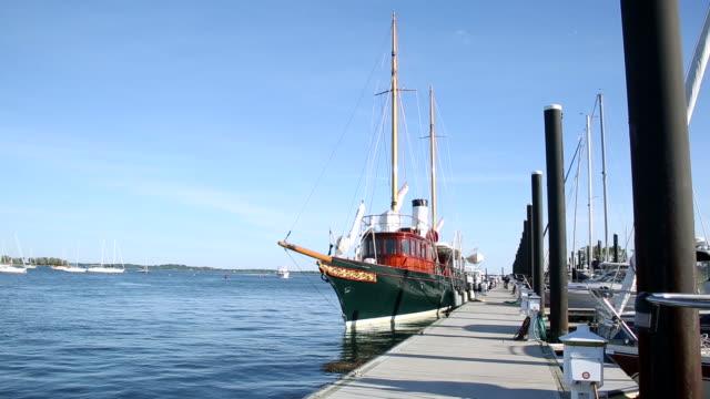 WS Shot of replica of Cangarda steam yacht / United States