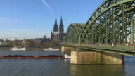 MS Shot of Rhine river with Hohenzollern Bridge and Dom (Cathedral) / Cologne, North Rhine Westphalia, Germany