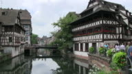 WS Shot of river at old town of Petite France / Strasbourg, Alsace, France