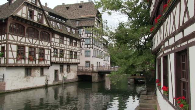 MS Shot of river at old town of Petite France / Strasbourg, Alsace, France