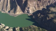 MS AERIAL Shot of road along Buffalo Bill reservoir / Wyoming, United States