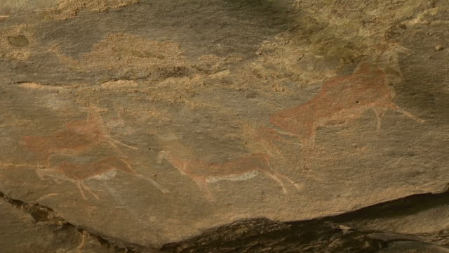 CU Shot of Rock paintings / Free State, South Africa