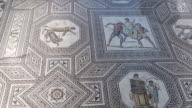 MS TU Shot of romain mosaic floor / Perl-Nennig, Saarland, Germany