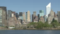 WS Shot of  roosevelt Island and east midtown of city / New York, United States