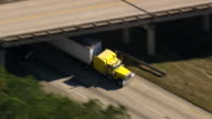 MS AERIAL TS ZO Shot of Route 95 south with lorries / South Carolina, United States