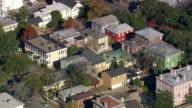 MS AERIAL Shot of row houses at Savannah / Georgia, United States