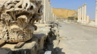 WS TD Shot of row of romanpPillars at archeological site / Beit Shean, Beit Shean Valley, Israel