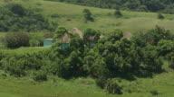 MS AERIAL DS Shot of rural settlement / Durban, Kwazulu Natal, South Africa