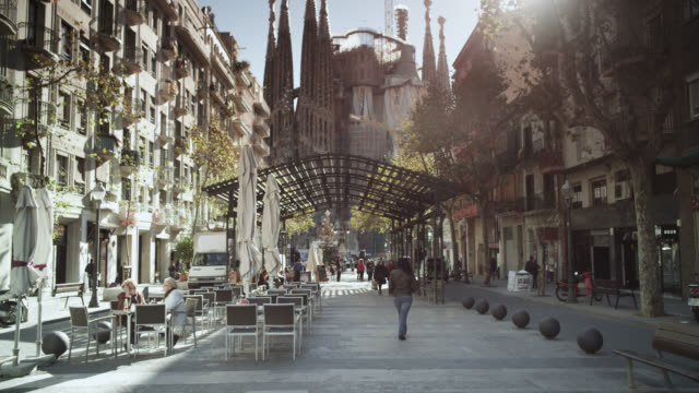 WS TD Shot of sagrada familia street / Barcelona, Catalunya, Spain