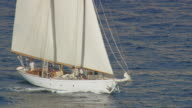 MS AERIAL Shot of sail boat moving ahead on sea surface / Monaco, France
