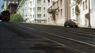 MS Shot of san francisco streets and cable cars / San Francisco, California, United States