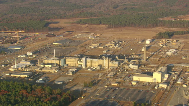 MS AERIAL Shot of Savannah River Nuclear sites (four inactive) / South Carolina, United States