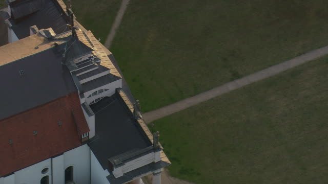 MS AERIAL Shot of schloss at Ludwigslust / Germany