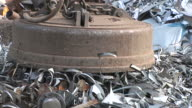 CU TS Shot of scrap depot at steel mill / Bous, Saarland, Germany