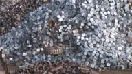 MS TD Shot of scrap depot at steel mill / Bous, Saarland, Germany