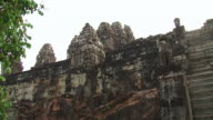 MS LA Shot of Sculpture of oldest temple / Angkor, Cambodia
