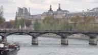 WS Shot of Seine and Pont des Arts, Musee du Louvre / Paris, Ile de France, France
