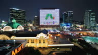 WS T/L Shot of Seoul Train Station Area (Seoul Square Area) at Night / Seoul, South Korea