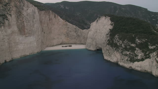 WS AERIAL TS Shot of Shipwreck in Zakynthos Island / Zakinthos, Ionian Islands, Greece