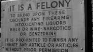 MS Shot of sign at entrance of women's prison