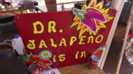 CU Shot of sign in tent says DR JALAPENO IS IN during Worlds Championship Chili Cook off / Omaha, Nebraska, United States