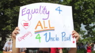 CU PAN Shot of signs in favor of marriage equality during rally / Washington, District of Columbia, United States