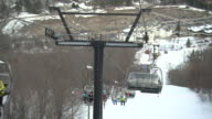 MS POV Shot of ski lift whilst heading down incline / Quebec, Canada